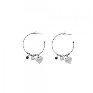 ESO1048AN Orecchini Perle e Cuori Anelle Pietra Nera
